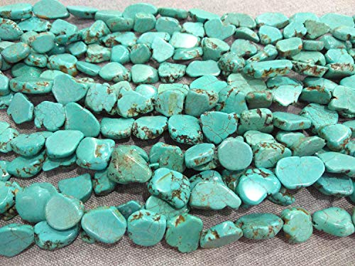 (15-25mm Turquoise Stone Turquoise Beads Nuggets Slab Freeform Flat Loose Beads Full Strand 16