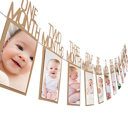 Pictures Birthday Cards - Amariver Baby Photo Banner for 1-12 Month 1st Birthday Party with Bunting Decor Thickened Kraft Card Paper (Brown)
