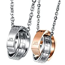 "UM Jewelry Women's Men's Stainless Steel Couples Necklace ""LOVE AFFAIR"" Engraved Doule Rings Pendant"