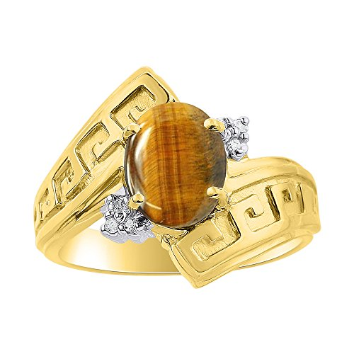 - Diamond & Tiger Eye Ring Set In 14K Yellow Gold - Greek Key Design - Color Stone Birthstone Ring