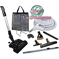 35 Deluxe Central Vacuum Kit with Hose, Power Head & Wands - Black - Works with all brands of central vacuum units