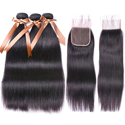 ALLRUN Straight Hair Bundles with Closure (20 22 24+18 Closure) 100% Brazilian Straight Virgin Hair 3 Bundles with Lace Closure Free Part Human Hair Extensions Natural Black Color