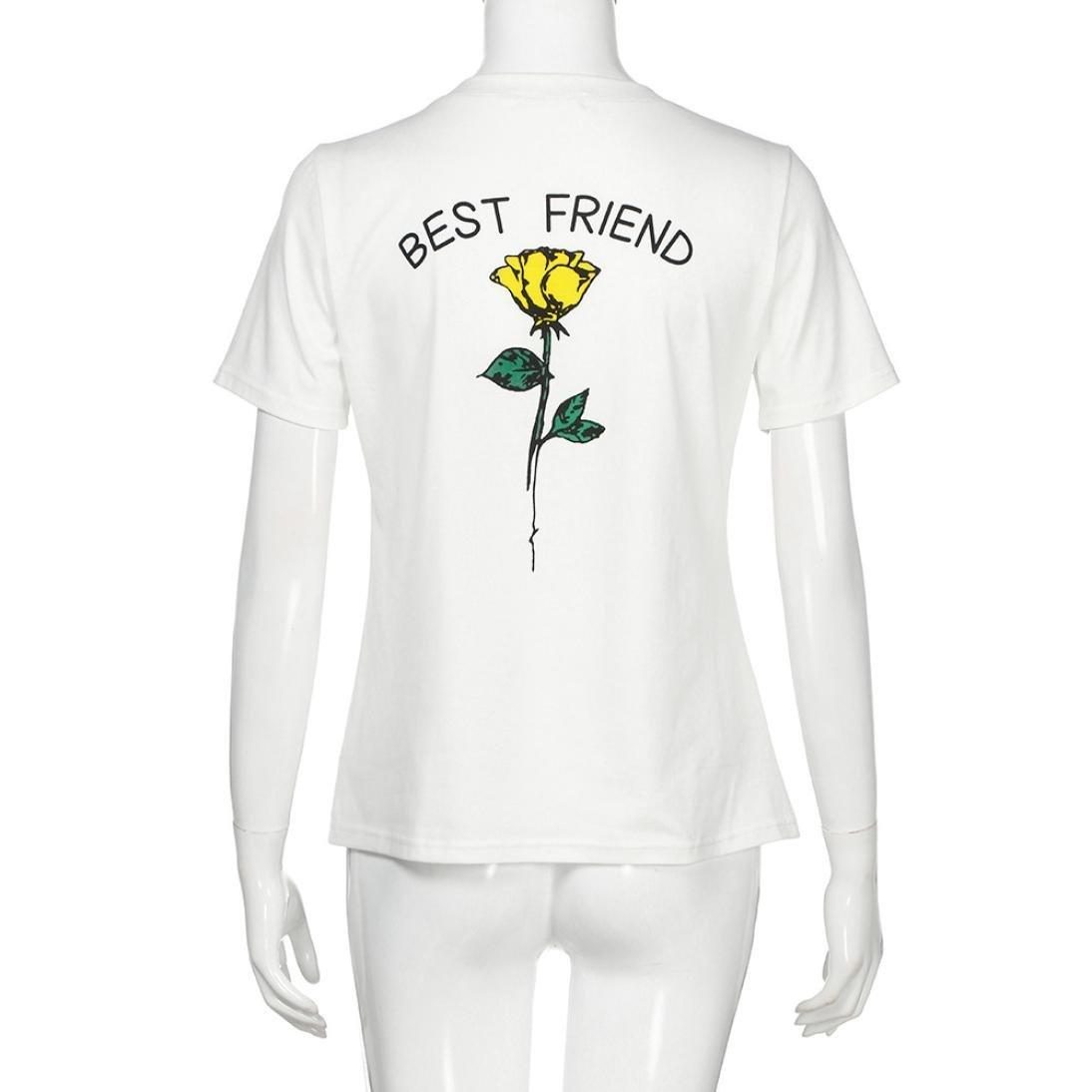 Camisas Mujer, ❤️Xinan Las Letras del Mejor Amigo de Las Mujeres subieron Las Camisetas Impresas Blusas causales: Amazon.es: Ropa y accesorios