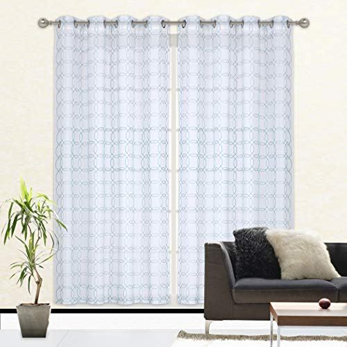 Home Queen Faux Linen Sheer Voile Window Curtain Grommet Drape Panel for Living Room & Bedroom, Aqua, 52 W X 84 L Inch, Square Pattern