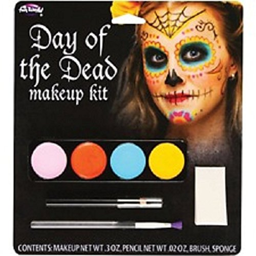 02 Day of the Dead Face Paint Makeup Kit and female costume accessories (Day Of The Dead Female Makeup Kit)
