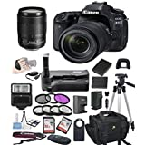 Canon EOS 80D Digital SLR Camera w/ EF-S 18-135mm USM Bundle includes Camera, Lenses, Filters, Bag, Memory Cards, Remote, Power Grip, Tripod ,and More - International Version