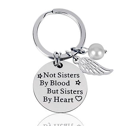 Best Friend Keychain Women Friendship Gifts Not Sisters By Blood But Sister Heart