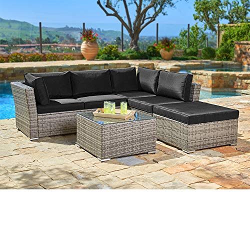(SUNCROWN Outdoor Sectional Sofa (4-Piece Set) All-Weather Grey Checkered Wicker Furniture with Black Washable Seat Cushions & Glass Coffee Table | Patio, Backyard, Pool | Waterproof Cover & Clips)