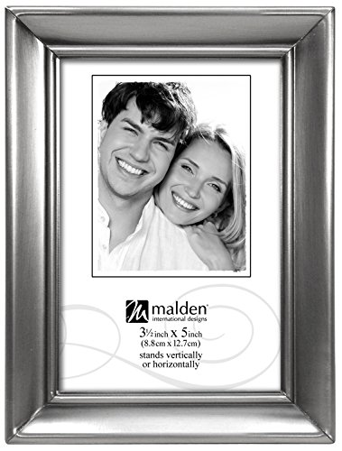 Malden International Designs Concourse Pewter Metal Picture Frame, 3.5x5, Silver