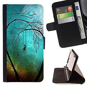 Momo Phone Case / Flip Funda de Cuero Case Cover - Sad Trees Goth;;;;;;;; - Sony Xperia M4 Aqua