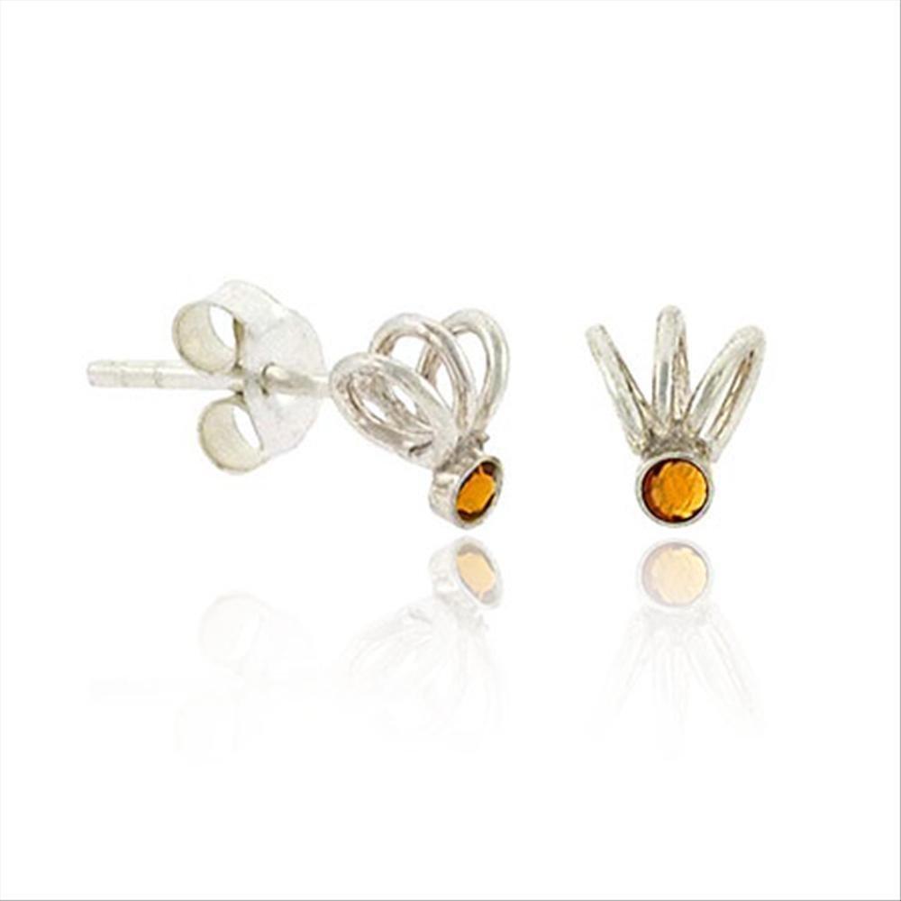 Sterling Silver Orange Rhinestone Swirl ChildrenS Stud Earrings