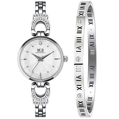 - M.E Women Wrist Watch with Bangle, Silver Bracelet Watches Set for Women