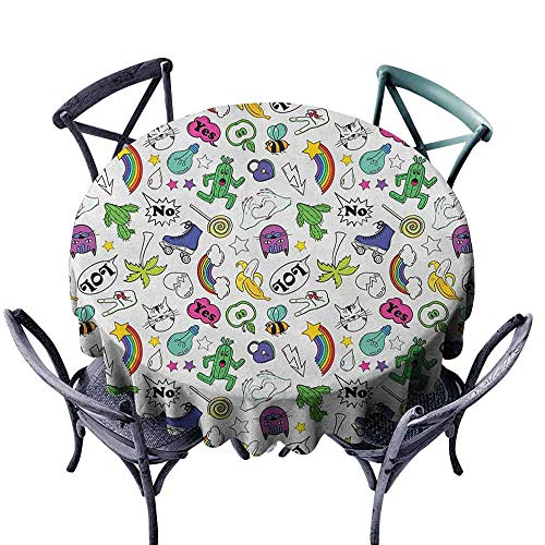 (XXANS Waterproof Table Cover,Emoji,Table Cover for Home Restaurant,67 INCH)