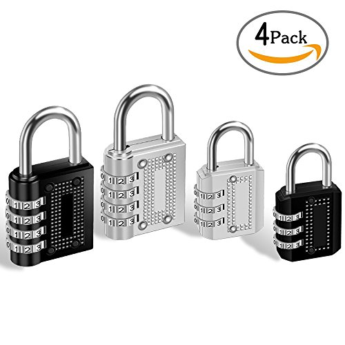 4 Pack Combination Padlock 4 Digit 3 Digit Padlock for School, Gym & Sports Locker, Luggage Suitcase Baggage Locks, Filing Cabinets, Fence, Toolbox, Hasp Storage