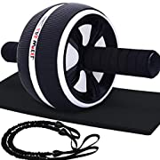 #LightningDeal 68% claimed: LAFENI Ab Roller, Home Abdominal Exercise Equipment Core Workout Machine Wider Ab Roller Wheel with Resistant Band
