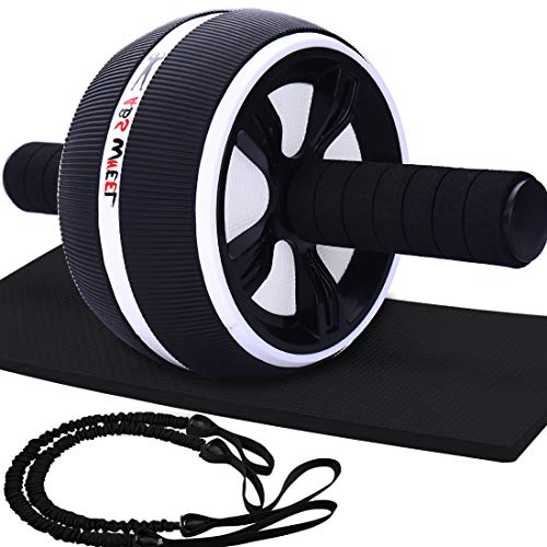 (LAFENI Ab Roller, Home Abdominal Exercise Equipment Core Workout Machine Wider Ab Roller Wheel with Resistant Band)
