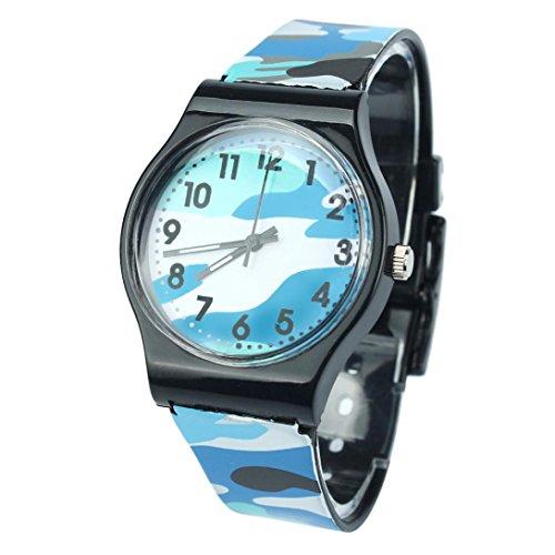 5 Sport Digital Jelly (Han Shi Kids Watch Camouflage Children Fashion Silicone Quartz Wristwatch Alarm Clock (Blue, L))