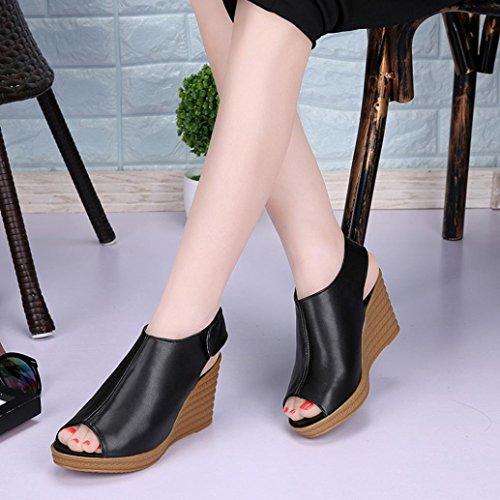 Transer® Damen Keilabsatz Sandalen/Mokassins Peep-Toe Schwarz Weiß Steigung-heeled Kunstleder+Kunststoff Klettverschluss Outdoor Sandalen Schwarz