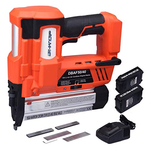 - BHTOP Cordless Brad Nailer &Stapler, 2 in 1 18Ga Heavy Finish Nail Gun With 18Volt 2Ah Lithium-ion Rechargeable Battery(Charger and Carrying Case) (2Batteries)