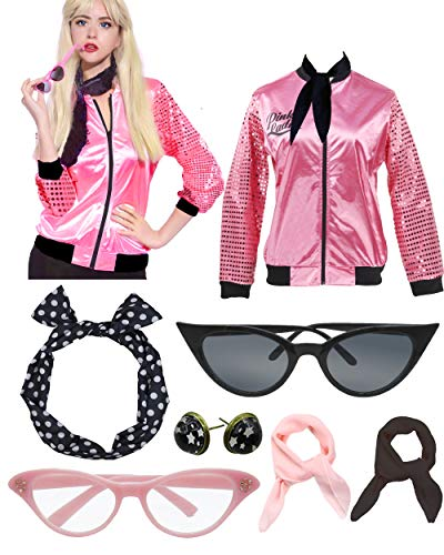 Retro 1950s Pink Polka Dot Style Headband Ladies Jacket Costume Accessories (XS, Hot Pink Bling)