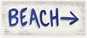 Stupell Industries Beach This Way Arrow Sign Blue White Word Design, Designed by James Wiens Art, 7 x 17, Wall Plaque
