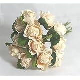 12 Rose Avorio Rosato in carta 2cm +/- Fiore per bomboniere e decorazioni