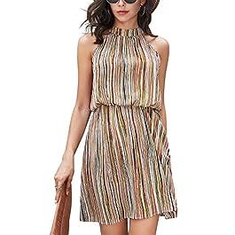 YOINS Summer Sleeveless Dresses Women Sexy A line Halter Neck Dresses Floral Print Off Shoulder Beach Mini Dress
