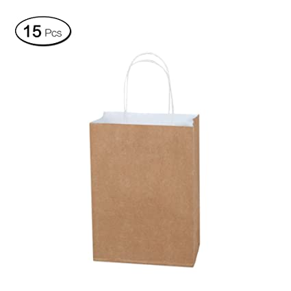 Jia Hu 15pcs reciclable Kraft bolsas de papel con asas de ...