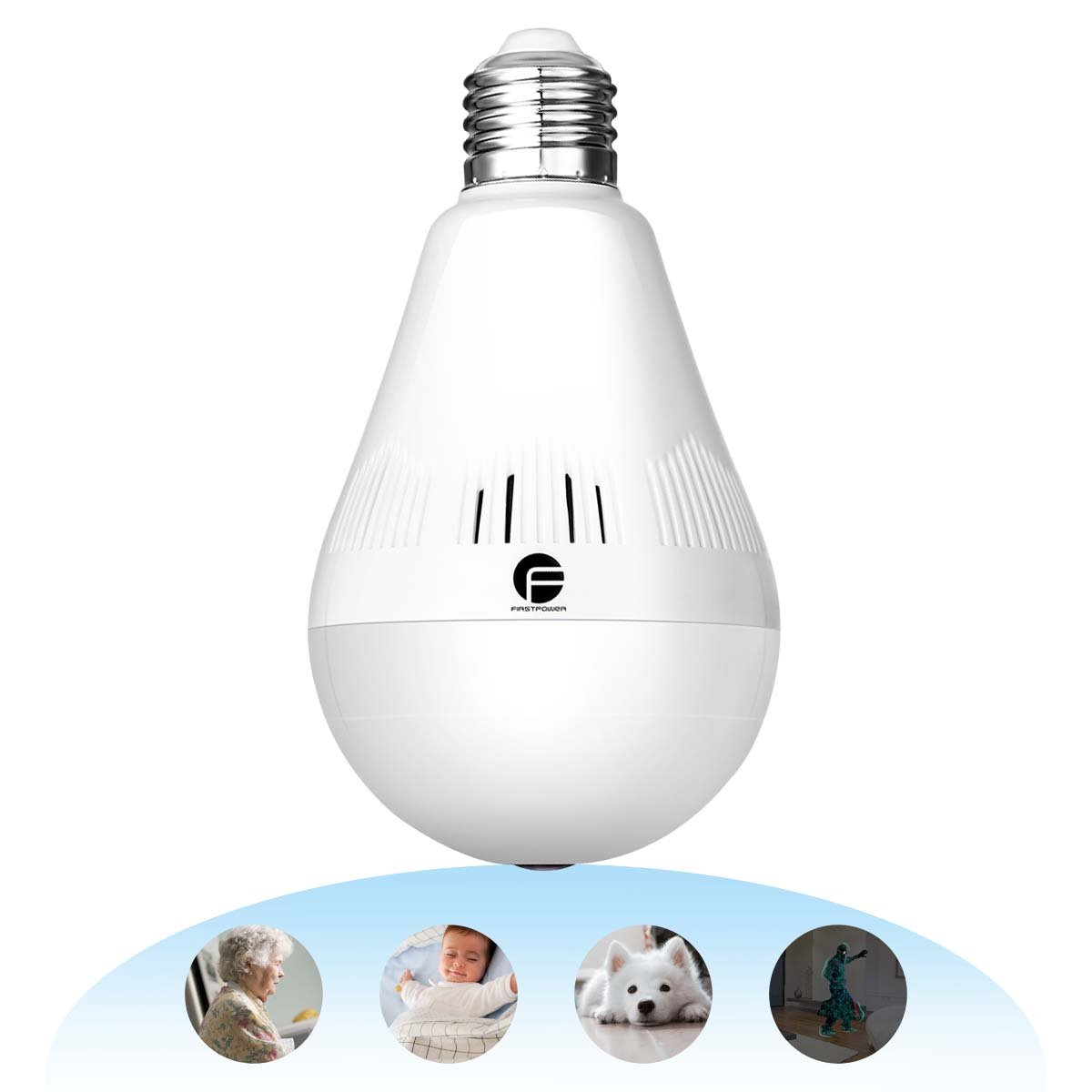 Wireless Security Bulb Camera, FirstPower 960P Home Security Surveillance Camera 360 Panoramic IP Camera with Night Vision Two Way Talking Motion Detection for Android IOS Phone