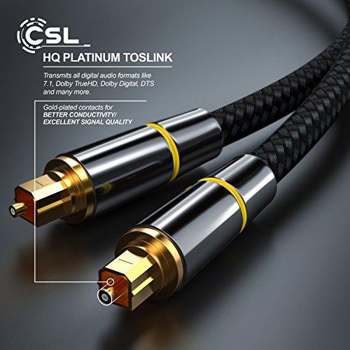 CSL - 0,5m (metros) cable Toslink HQ Platinum (óptico/digital) | conectores Toslink | cable de fibra óptica | conector HQ de metal con contactos chapados en ...