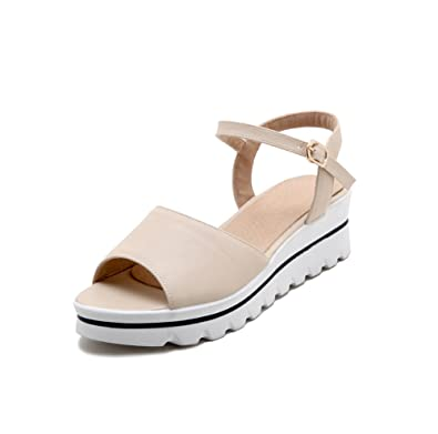 f9e24116480c Poduo Women s Leather Skidproof Summer Outdoor Platform Sandals Beige 36  5.5 D(M) US