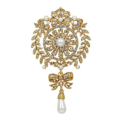 DARLING HER Fashion Large Size Crystal Diamante and Imitation Pearl Drop Scroll Brooches for Women Or Wedding Gold