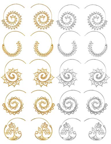 FIBO STEEL 10 Pairs Spiral Hoop Earrings Set for Women Girls Vintage Tribal Swirl Earrings ()