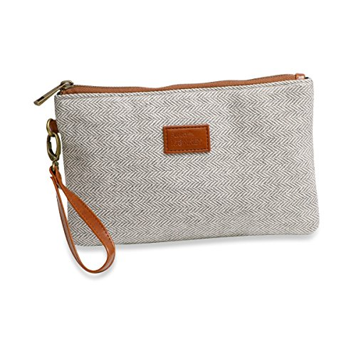 {Grace Collection} Wristlet Wallet Clutch Bag – Phone Purse Handbag – Small, Medium, Large Size – Gray & White Herringbone Style – Funky Monkey Fashion (Large)