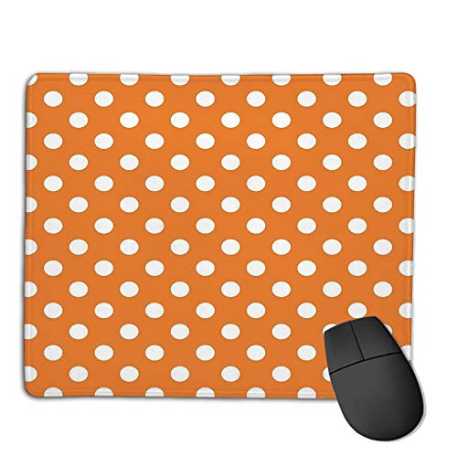 Mouse Pad Non-Slip Thick Rubber Large MousepadPolka Dots,Classic Old Fashioned Polka Dots Continuous in Spacing and Shape 20s Design,Orange White,Suitable for Notebook Desktop Computers,Mouse Pad w]()