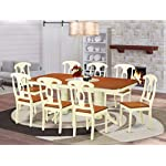 9 Pc Dining set-Table with Leaf and 8 Dining Chairs