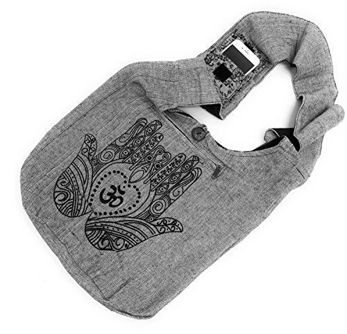 Bohemian Hamsa Hand Om Spirituality Yoga Large Sling Crossbody Shoulder Bag Purse Hippie Hobo Gypsy (Gray) (Button Women Shoulder Bags)