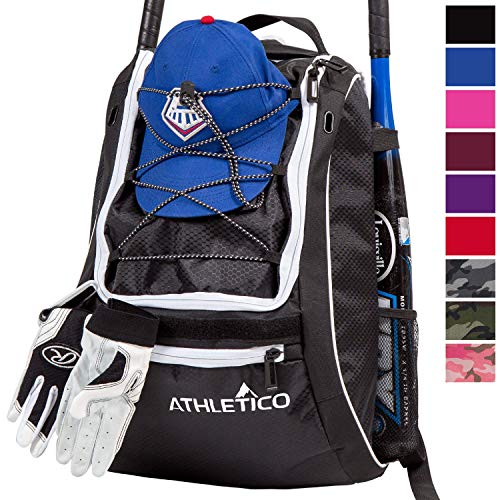 Athletico Baseball Bat Bag - Backpack for Baseball, T-Ball & Softball Equipment & Gear for Youth and Adults | Holds Bat, Helmet, Glove, Shoes | Separate Shoe Compartment, Fence Hook (Black)