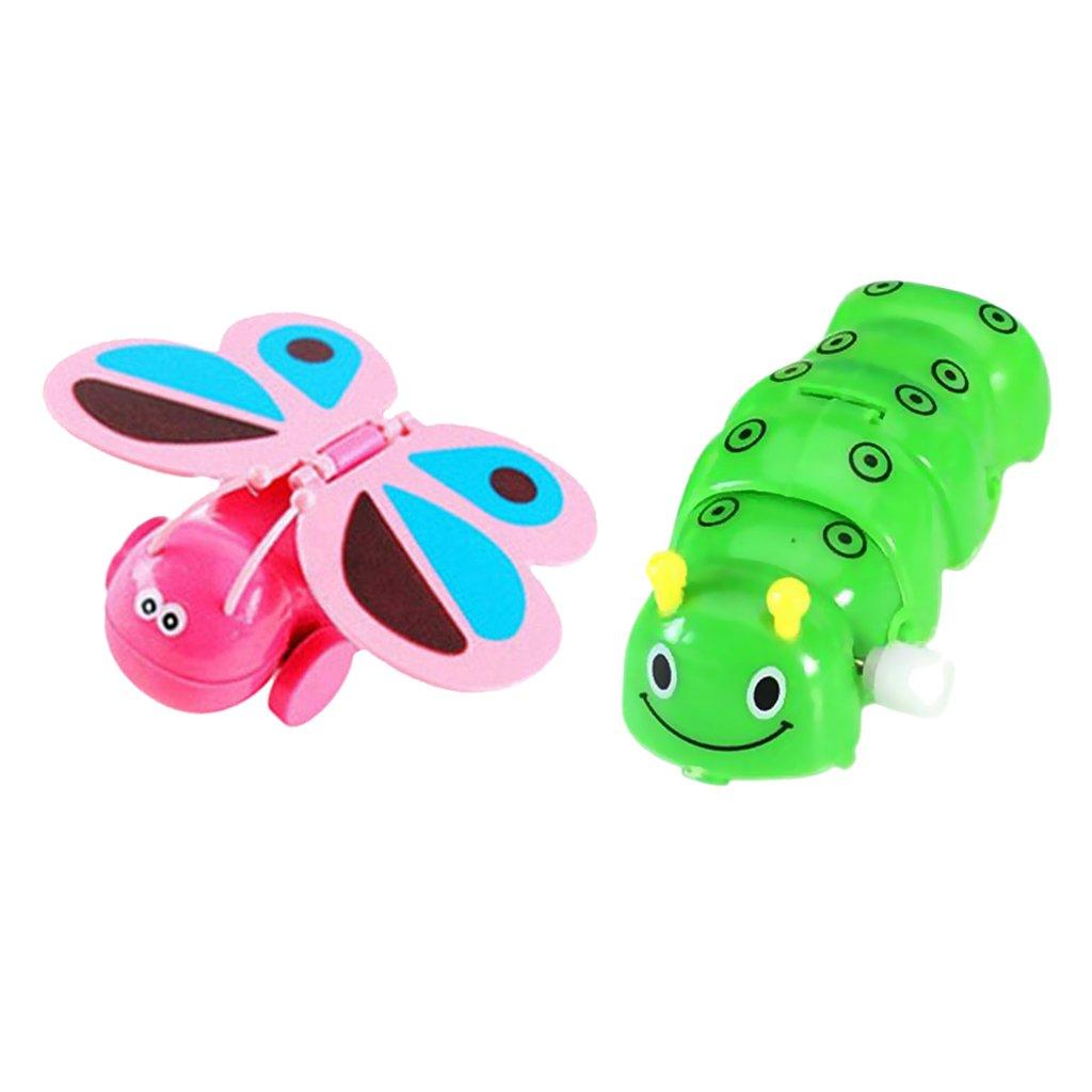 Baoblaze 2Pc Wind Up Toy Clockwork Caterpillar & Butterfly Figure for Kids Developing
