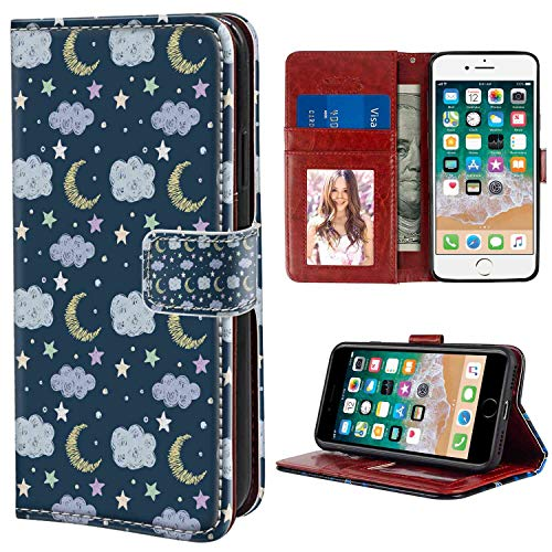 Leather Case Fit iPhone 7 8 4.7in Moon Hand Drawn Style Simple Good Night Pattern Clouds Stars and Dots Fun Scribble Art Multicolor Print with Card Holder Case ()