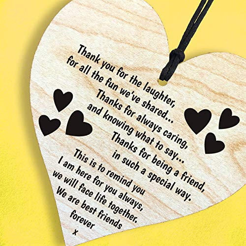 Resmoni We are Best Friends Forever. Thanks for Being a Friend, in Such a Special Way. Wooden Hanging Heart Leaving Plaque Gift for Best Friendship