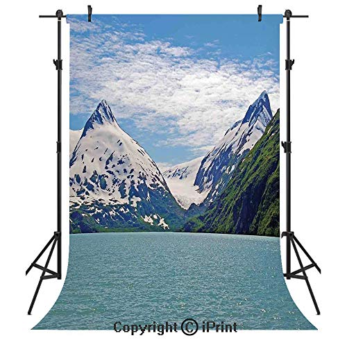Lake House Decor Photography Backdrops,Mountain and Lake in Anchorage Alaska Springtime Sunny Day Scenic View Picture,Birthday Party Seamless Photo Studio Booth Background Banner 5x7ft,White Green Tea]()