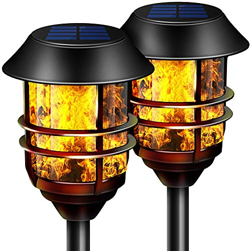 "Camabel 55"" Tall Solar Torches Lights with Flicking Flame 100% Metal LED Solar Light Outdoor Dancing Stainless Steel Walkway Lighting for Garden Patio Yard Decor Waterproof Pool Path Effect Light"