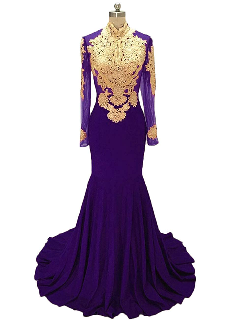 Grape alilith.Z Sexy Mermaid Prom Dresses gold Appliques Long Sleeve Formal Evening Dresses Party Gowns for Women