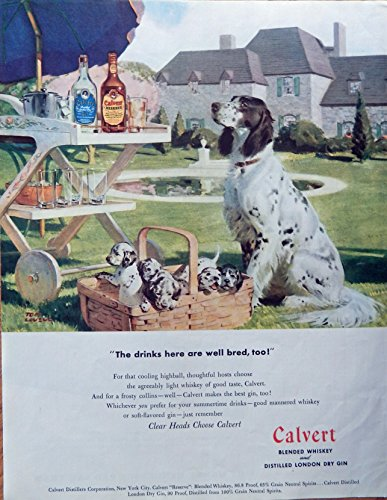 Tom Lovell, Bird dog and puppies Color Illustration. 40's Print ad.Scarce old ad. Calvert Whiskey. Original 1947 Collier's Magazine Art ()