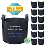PHYEX 12-Pack 7 Gallon Nonwoven Grow Bags, Aeration Fabric Pots with Durable Handles, Come with 12 Pcs Plant Labels
