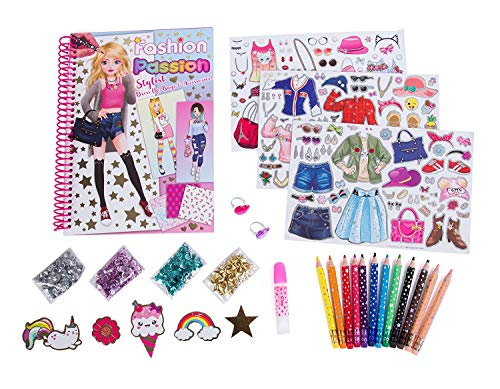 Hot Focus Fashion Stylist Kit – Fashion Design Sketchbook with 12 Erasable Colored Pencils, 4 Bags of Sequins, Stickers, Glue and 2 Bonus Adjustable Heart Jewel ()