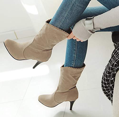 Slip Moyenne Aisun Conique Tige Chic Boot Croquet On Talon Abricot Femme yCXqHwwY