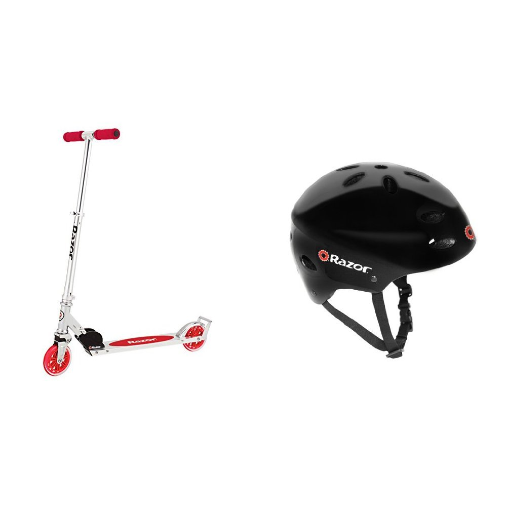 Razor A3 Kick Scooter, Red, Frustration Free Packaging w/ Black Helmet