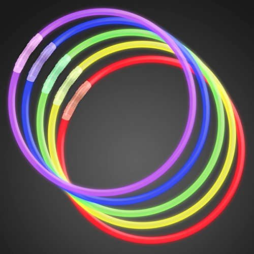 (FlashingBlinkyLights Premium 22 Inch Glow Stick Necklaces in Assorted Colors, Bulk Tube of 50 Glowstick)